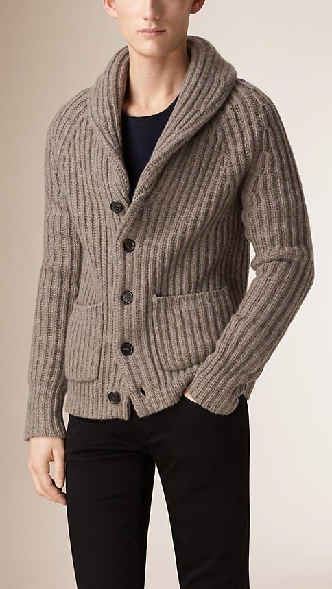 Marrom taupe Cardigã de cashmere e lã com gola xale - Imagem 1
