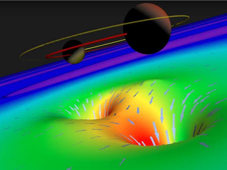 Las ondas gravitatorias son ondulaciones del entramado espacio-temporal provocadas por procesos violentos como puede ser la fusión de agujeros negros.