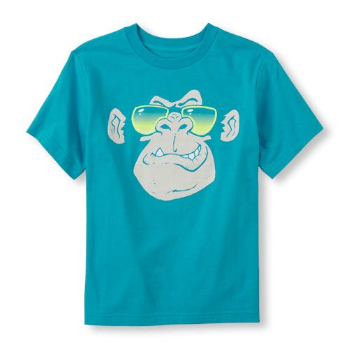 s Boys Short Sleeve Gorilla Face Graphic Tee - Blue T-Shirt - The Children's Place