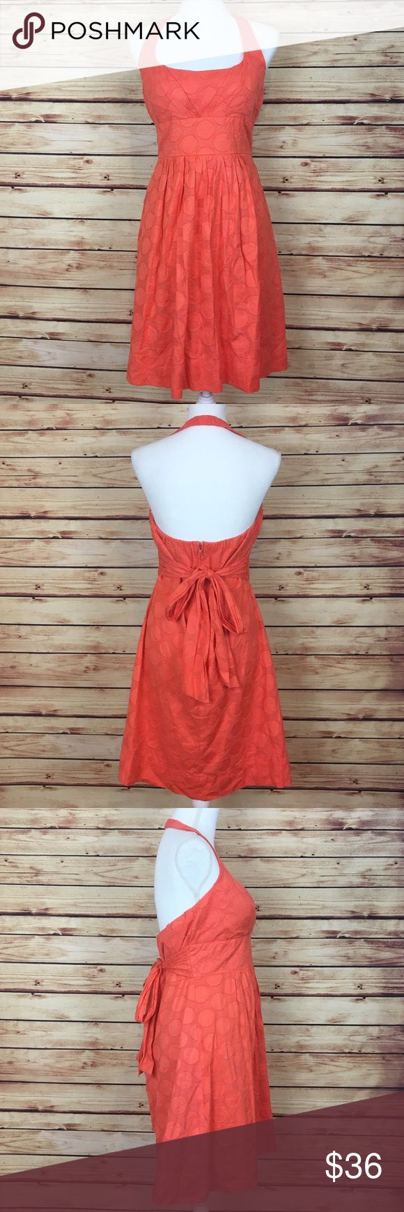 "B. Smart Orange Polka Dot Halter Dress Size 14 B. Smart Dress. Orange. Polka dot. Halter neck. Waist tie. Back zip. Size 14.  Excellent preowned condition with no flaws.  Measurements are approximately: 34"" bust, 33"" waist, 45"" hips, and 21.5"" waist to hem length.  100% cotton.  No trades. All items come from a pet friendly, smoke free home. Bundle to save! B. Smart Dresses"