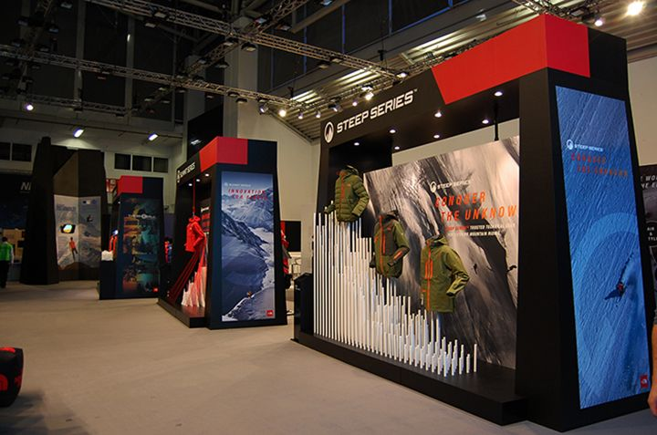 the north face stand on ispo munich 2014 by international orange aram leeuw expo pinterest. Black Bedroom Furniture Sets. Home Design Ideas