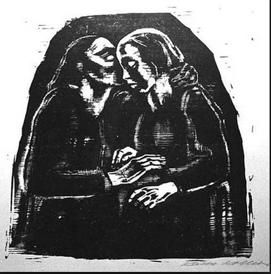 """Maria and Elisabeth."" Kathe Kollwitz's compassion for those victimized by war and poverty as captivating. Many of her most moving images are prints and drawings, but she did indeed paint, too. Her work was influenced by German Expressionism, but had the raw social reality of Courbet and Daumier."