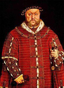 Portrait d'Henri VIII par Hans Holbein le Jeune en 1542 Portait d'un homme obèse portant une ample tunique rouge avec des motifs dorés