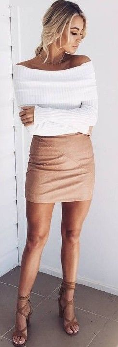 #prefall #muraboutique #outfitideas | White Knit + Camel Skirt