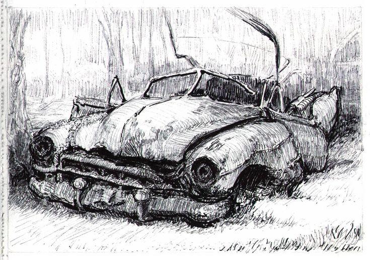Jean Vincent 48' or 49' Cadillac convertible in junkyard