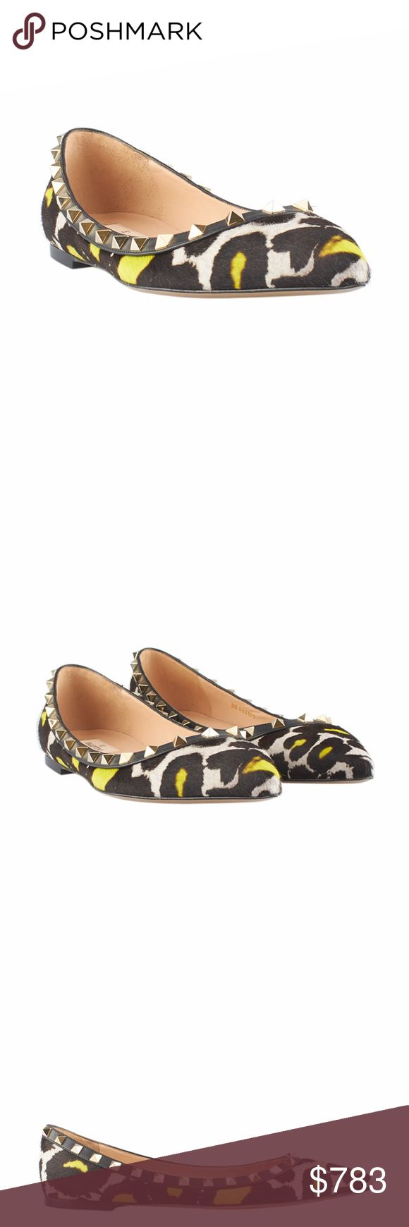 Valentino Rockstud Flats (134608) Exterior Condition: New Material: Pony Hair Origin: Italy Heel Height: Flat (0 - 1/2 in) Insole: 10.5 Sole Width: 3 These Valentino Rockstud Flats feature: New without tags Ref: 136376-134608-NCS-SH IPL: SHO-4 Valentino Shoes Flats & Loafers