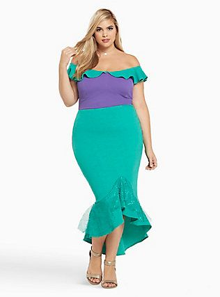 Plus Size Halloween Ariel Fitted Mermaid Dress, GREEN