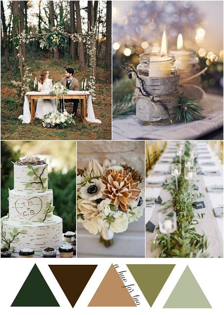 Natural Green and Brown Woodsy Wedding Color Scheme | Fall Rustic Woodland Wedding | Themed Wedding | A Hue For Two | http://www.ahuefortwo.com