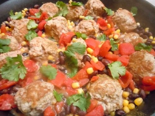 Southwest Turkey Meatballs with Warm Corn-Black Bean Salsa - Good healthy recipe. Quick dinner.