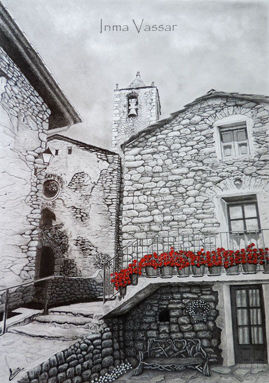 Red Geraniums Graphite & Gouache Drawing by Inma Vassar
