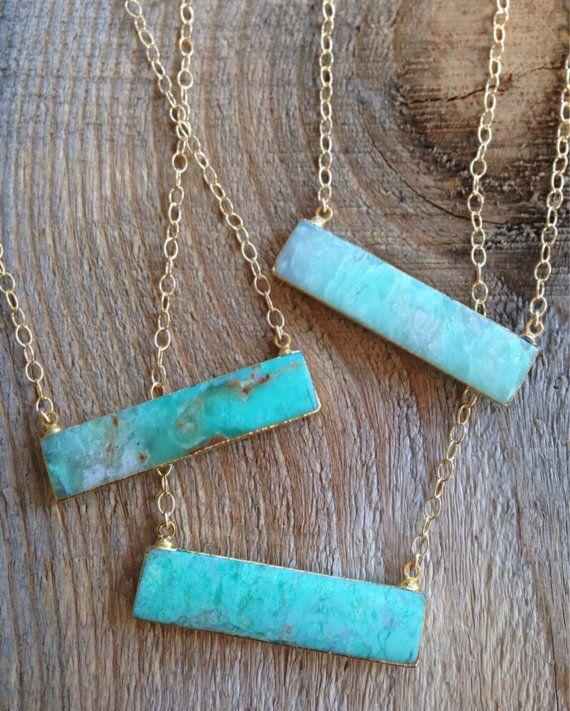 Gold edged Chrysoprase Bar Necklace by joydravecky on Etsy boho jewelry, handmade jewelry