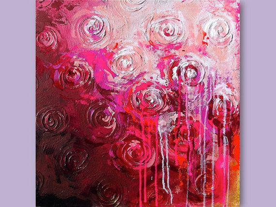 Art Contemporary Pink  Roses Original Acrylic Abstract Painting on Canvas