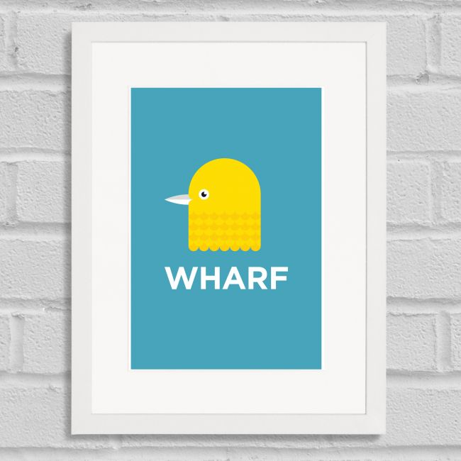Pate Canary Wharf Neighbourhood Pun Art Poster Print White Frame