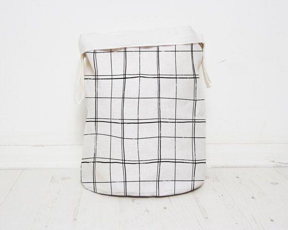 Modern Black and white lines Nursery toy storage bags, scandinavian style laundry hamper,bin