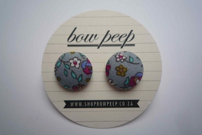 floral button earrings by Bow Peep