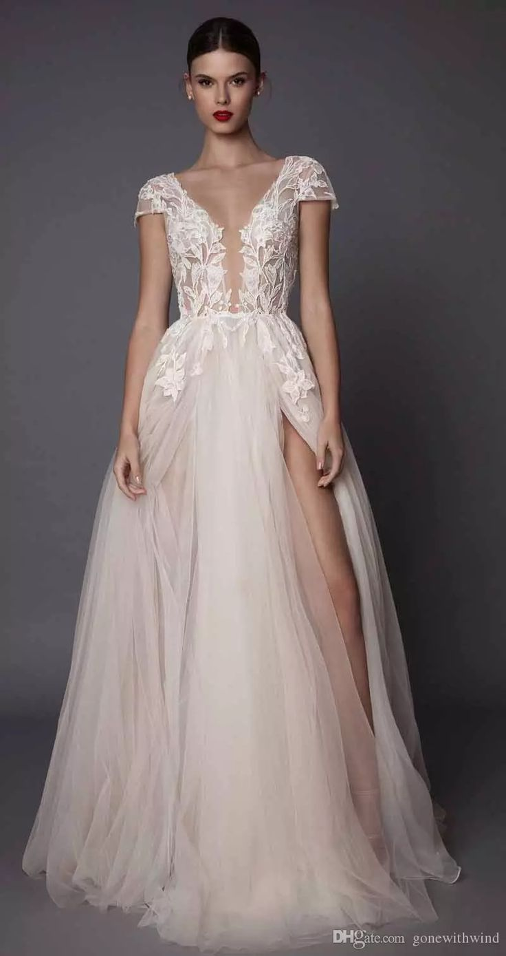 551 best 2017 wedding dresses images on pinterest wedding dress sexy side slit evening dresses 2017 muse berta bridal cap sleeves deep plunging v neck embellished bodice lace tulle skirt open low back second hand ombrellifo Choice Image