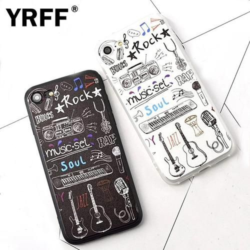 Cartoon rock rap Music Instruments Phone Cases For Apple iPhone
