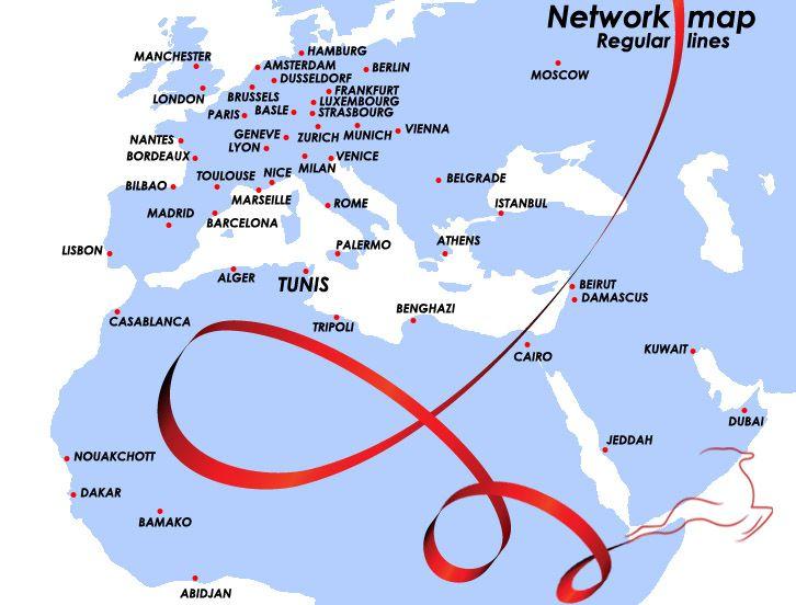 Tunisair's Network : Tunisair Cheap flights to Tunisia