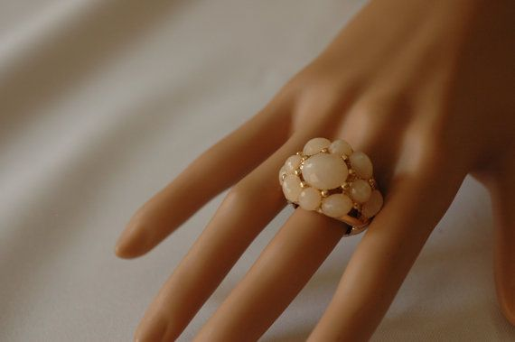 Stretchable Beige Ring Gold Ring Adjustable ring by stylelovers, $14.00
