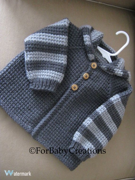 Crochet bebé niño o niña suéter con capucha  gris oscuro y