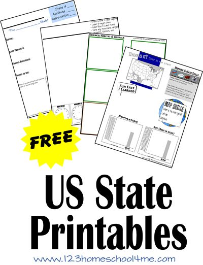 FREE US State Worksheets! These are great for K-5th graders learning about the United States in school. Use them in homeschool, state reports, summer vacations, and more.