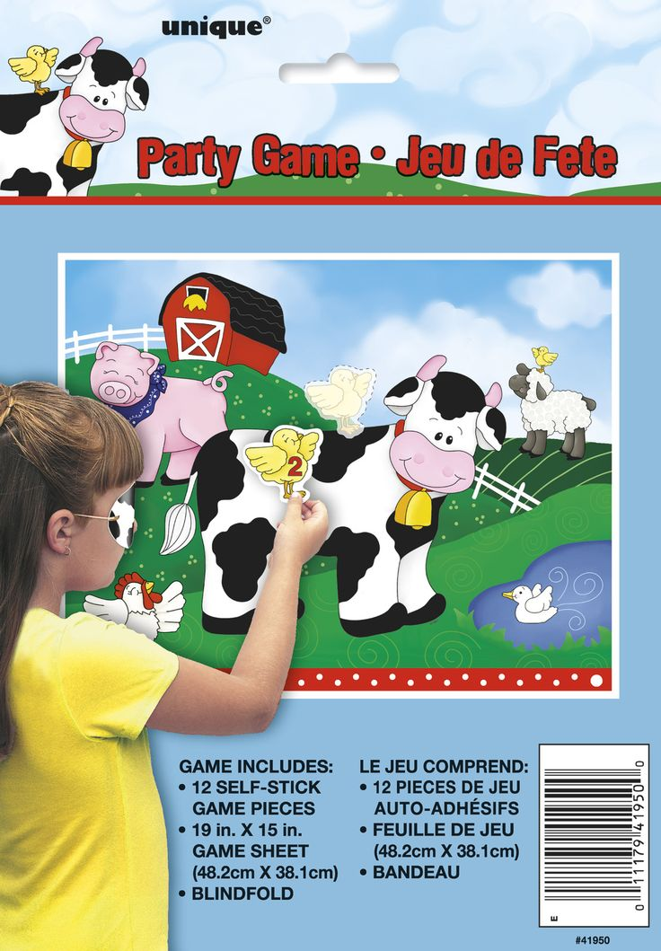 Farm Animal Party Kids party game Stick / Pin The Chick On The Cow Farm Party Game With Blindfold Up To 12 Players