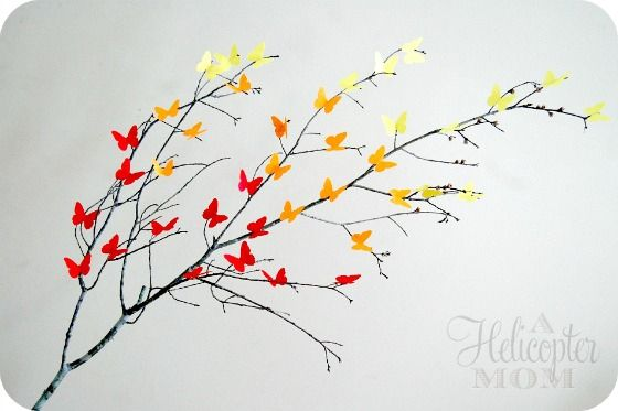 butterfly branch - Easy DIY - looks gorgeous in a vase or on a porch #crafts #DIY #Spring