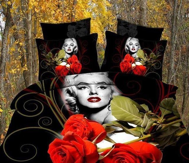 Dropship polyester 3D bloem tijger leeuw luipaard Monroe rose beddengoed laken set beddengoed dekbedovertrek set beddengoed set