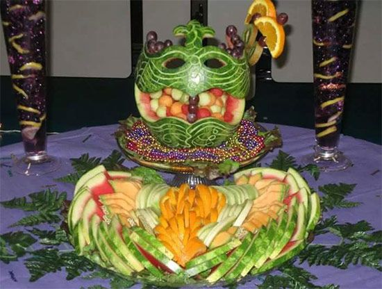 Mardi Gras Melon. Click to see more Fruit Buffet Displays on NIta's blog