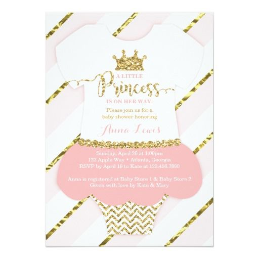 Little Princess Baby Shower Invitation in Pink and Gold by DeReimer DeSign