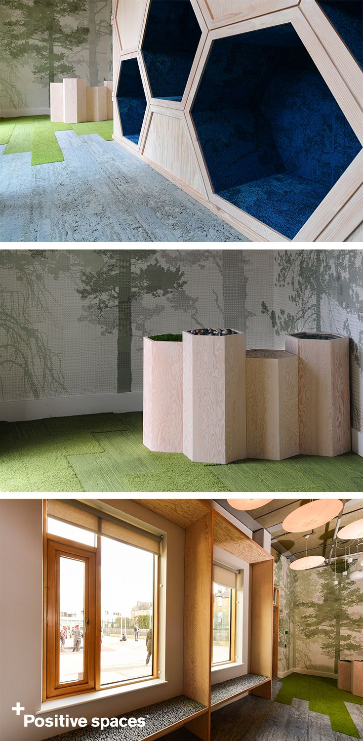 Positive spaces make students feel their best. That's why the Garden School, Hackney uses intentional interior design elements to help students with autism learn, grow and interact. With +Positive spaces featuring sensory elements, changing lights, biophilic design, modular carpet tiles that mimic the look of nature and cozy nooks, students at this school can explore in a comfortable education space.