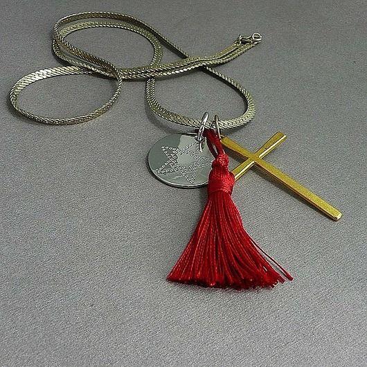 Wisior  w stylu Boho. Krzyż i chwost. Uniseks // Pendant in the Boho style . The Cross and the tassel. Unisex