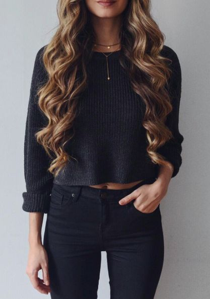 Black sweater and jeans
