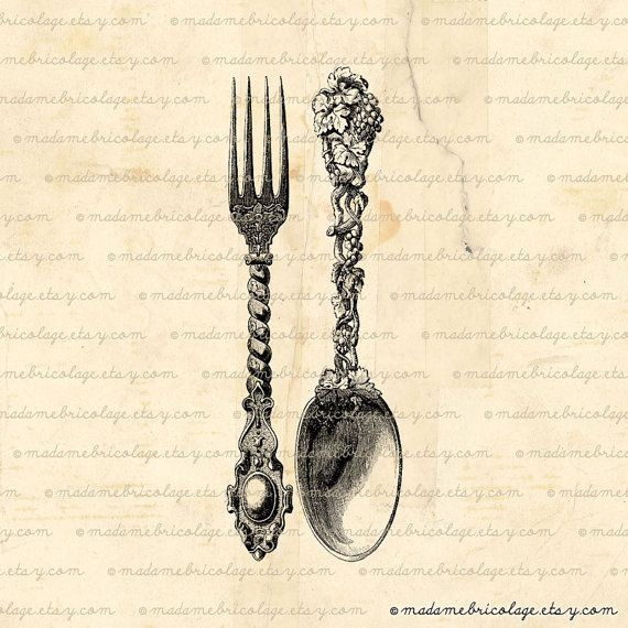 vintage cutlery illustration transfer