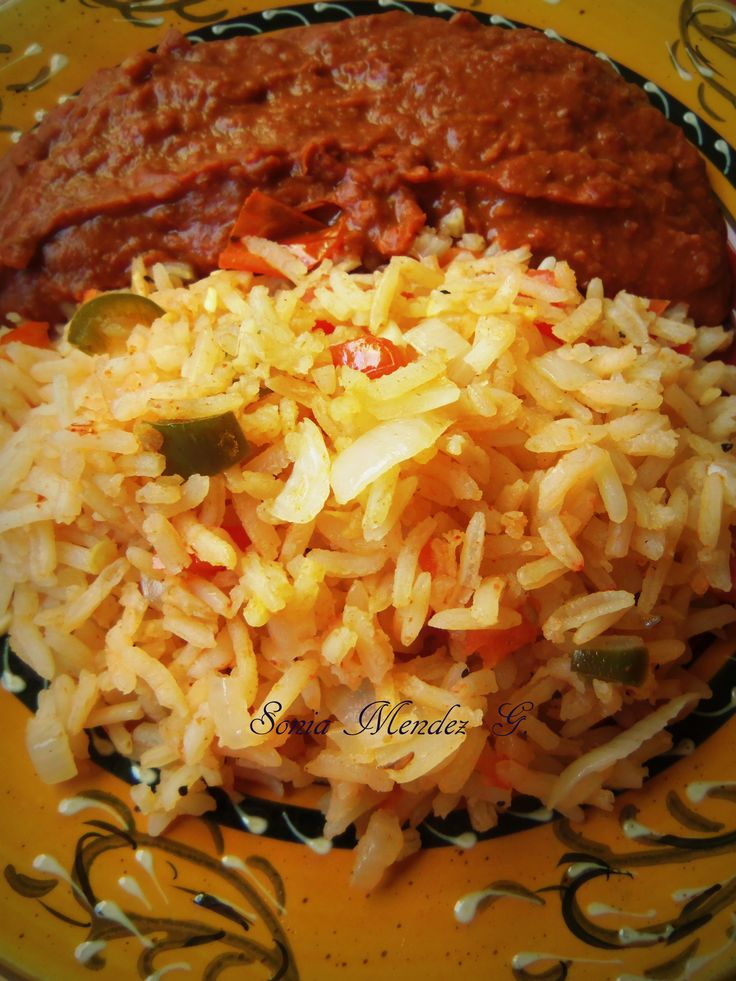 Arroz Estilo Mexicano, Red Rice prepared with freshly blended tomato.
