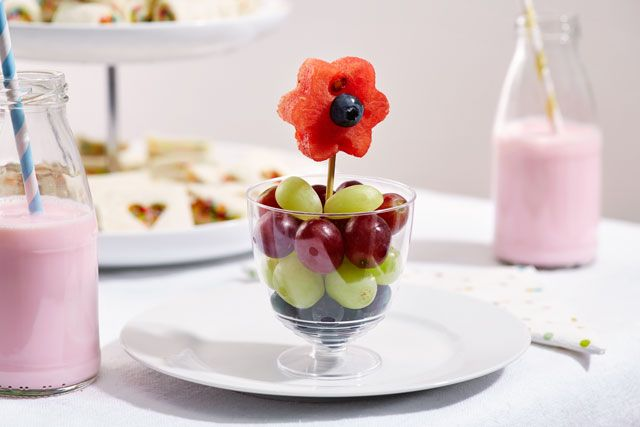 Fruit flower pots - a sweet addition to any littlies party table.