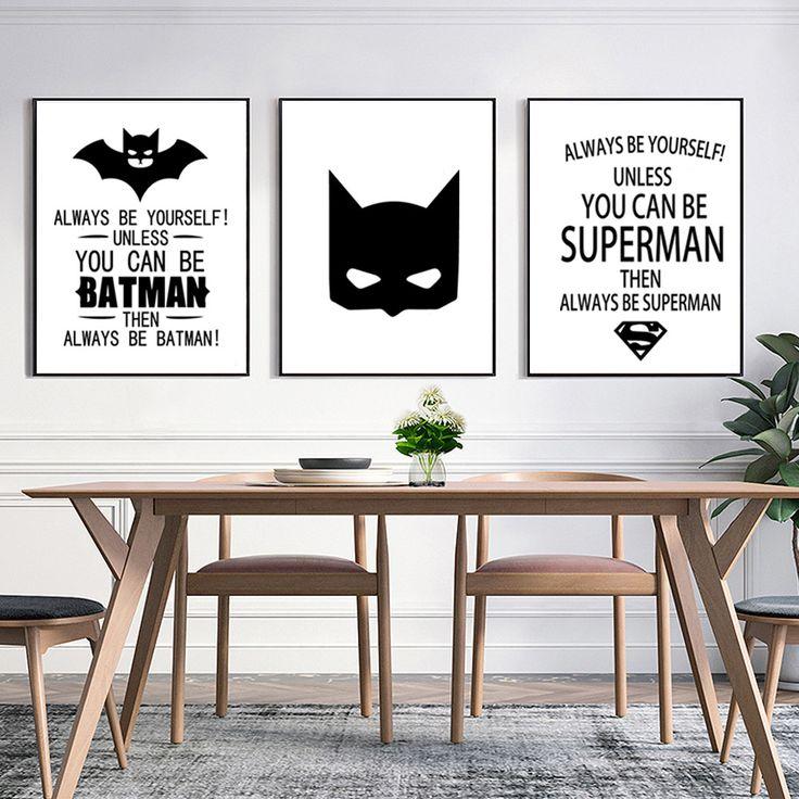Superman Batman Art Prints Poster Zwart Wit Typografie Quotes Muur Foto Muurschildering Kinderkamer Babys Jongen Decoraties Olieverf in                                                                                               -Fashion design, 100% Nieu van Schilderen& kalligrafie op AliExpress.com | Alibaba Groep