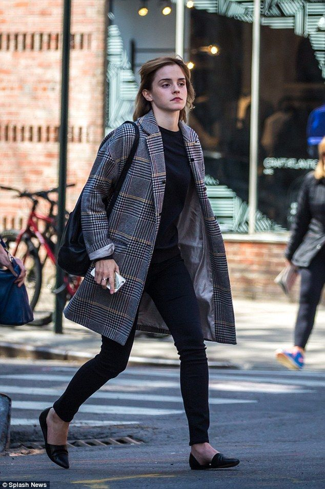 Emma Watson nails off-duty chic in structured checkered coat in NYC