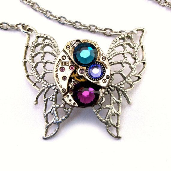 Steampunk Necklace - Beautiful Purple Amethyst & Montana Blue Swarovski Crystal Clockwork Butterfly PROMPTLY SHIPPED - Steampunk Jewelry