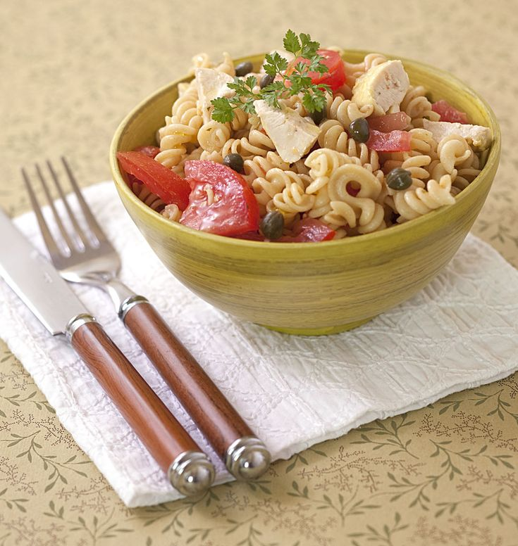Photo de la recette : Salade de pâtes au poulet, tomates et câpres