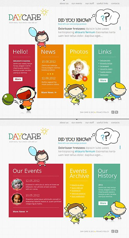 Day Care Moto CMS HTML Templates by Delta