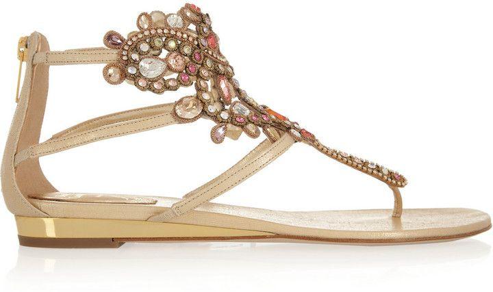 Rene Caovilla Swarovski crystal-embellished leather sandals on shopstyle.co.uk