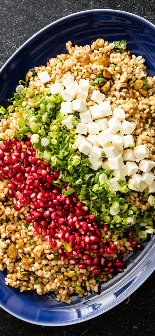 Egyptian Barley Salad - We set out to develop a recipe for a vibrantly spiced pearl barley salad with the right balance of sweetness, tang, and nuttiness. SSalty feta cheese, pungent scallions, and pomegranate seeds adorned the top of the dish for a colorful composed salad with dynamic flavors and textures.