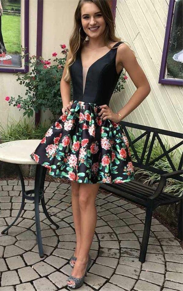 5925cc120b8 A-Line V-Neck Short Black Floral Homecoming Dress in 2019 ...