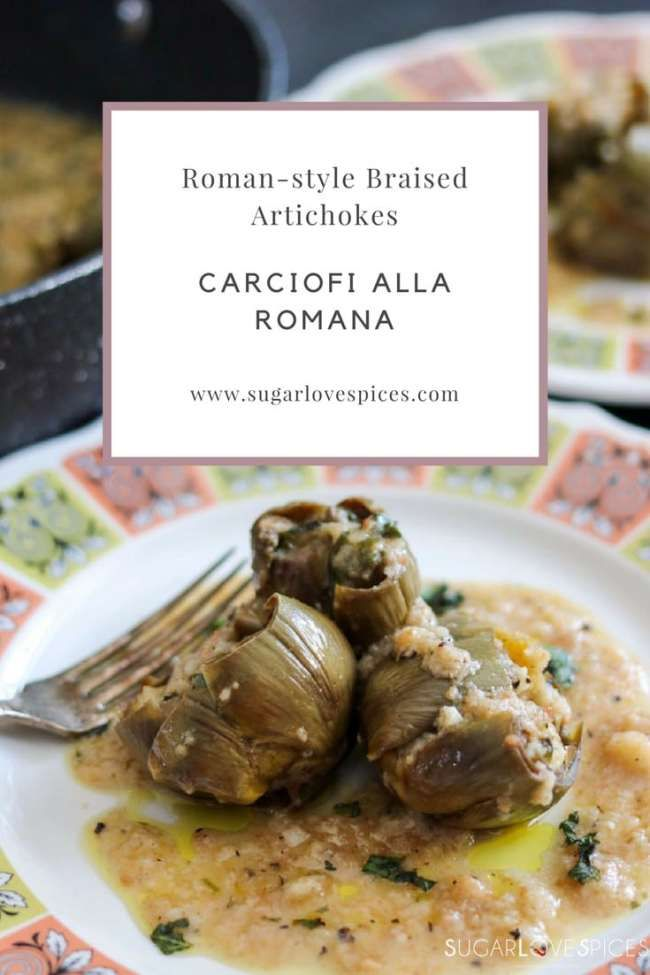 carciofi alla romana- roman-style braised artichokes stuffed with breadcrumbs, garlic, parsley, mint and evo oil #vegetarian
