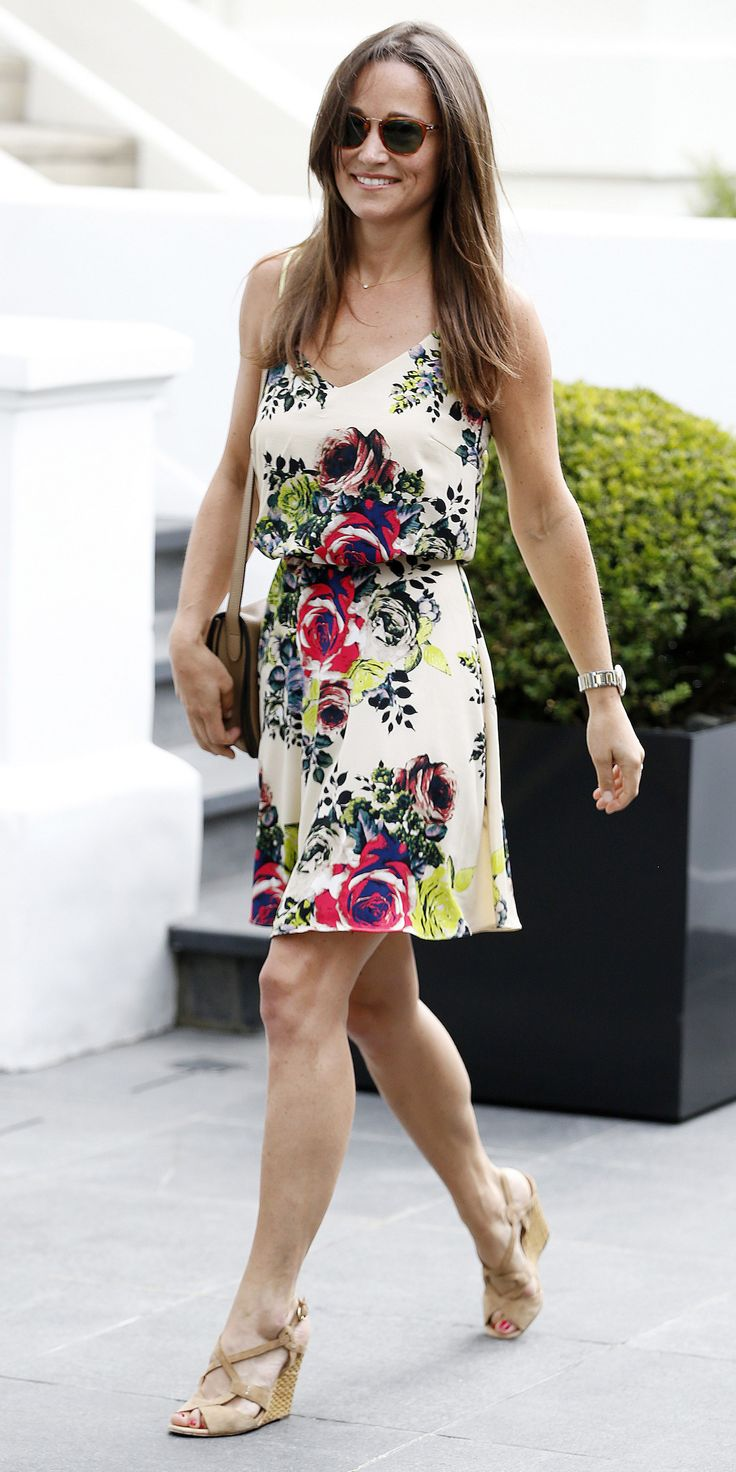 Pippa Middleton Glows in a Floral Print Dress Days After Engagement to James Matthews from InStyle.com