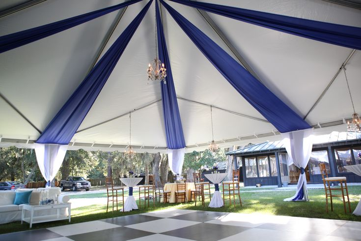 use rolls of plastic tablecloths in your colors to add some drama to the ceiling of your tent. Add in some icicle twinkle lights and wow :)