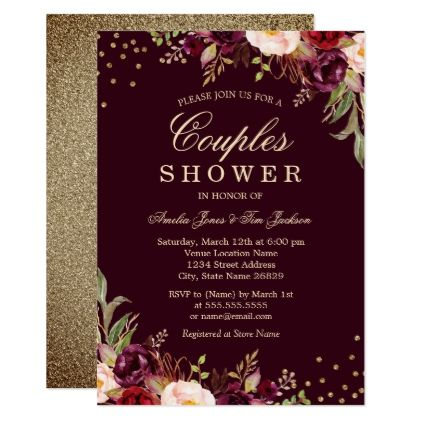 Couples Shower Gold Burgundy floral Sparkle Card - wedding shower gifts party ideas diy cyo personalize