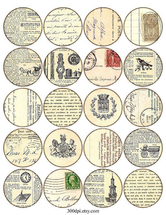 cercles de pouce grand rond images imprimables Télécharger Digital Collage feuille 2 étiquettes imprimables Vintage ephemera carte postale analyse en arrière-plan