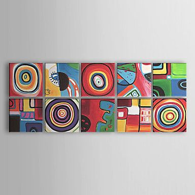 [XmasSale]Oil Paintings Set of 10 Modern Abstract Color Cirles  Hand-painted Canvas Ready to Hang – USD $ 119.59